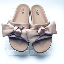 50ab356d416de3 Mossimo Womens Slide Sandals beige Bow Size 6.5 M Satin Fabric Slip On (H)
