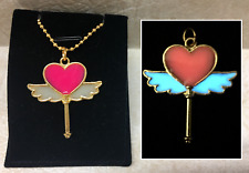 Magic Winged HEART Wand GLOW IN THE DARK Gold Kawaii Charm Pendant Necklace