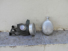 WW2 GERMAN MILITARY  ALUMINIUM CANTEEN + GAS MASK WITH FILTER. - USED.