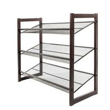 3-Tier Metal Shoe Rack 12 Pair Wall Bench Shelf Closet Organizer Storage Stand