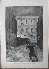 1883 Two Large Engravings - LONDON POLICE - Scotland Yard - Terrorist Attack