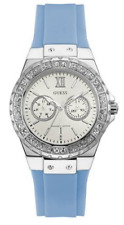 New GUESS Women's Blue Silicone Strap Watch 39mm Silver Watch U0153L1