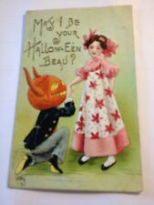 Halloween Fantasy Postcard A/S HB Griggs pretty lady JOL w/ horns as man's head