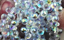 50 LIGHT BLUE AB CZECH GLASS TEAR DROP BEADS 8MM