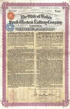 Brazil Bond 1915 State Bahia South Western Railway Co £10 Uncancelled coupons