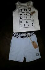 Timberland Baby Boy White And Grey Vest Top with blue Pants (Age 12 months ) NWT