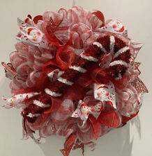 Handcrafted Christmas Red & White Candy Cane Mesh Wreath For Door/Wall hanging