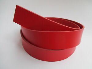 "9-10 oz 51-55"". Red Genuine Natural Leather Strip Belt Blank Strap Band."