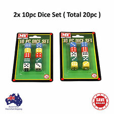 20pcs DICE SET Maths Board Playing All Games Fun Kids School Bulk Colour White