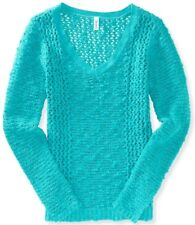 Aeropostale Womens Sheer Solid Ocean Teal Open Knit V Neck Sweater Sz L XL XXL
