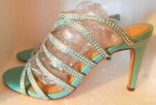 Antonio MelaniSky Blue Leather High Heel Strap Strass Sandals