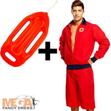 Mens Lifeguard Costume + Float 90s Adults Sports Beach Uniform Costume Outfit