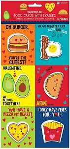Party Favors, Food Valentine Cards with Erasers, 12 Pc.