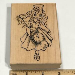 STEAMPUNK GIRL CLOCK Halloween Magic Rubber Stamp by STAMPENDOUS