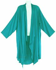 Turquoise Women Lagenlook Duster Plus Size Long Coverup Jacket 1X 2X 18 20
