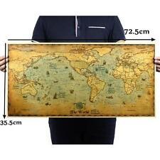 72.5*35.5cm Vintage Retro Paper Earth World Map Poster Wall Chart Livingroom DIY
