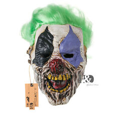 Halloween Party Creepy Green Hair Clown Latex Mask Over Head Fancy Costume Props