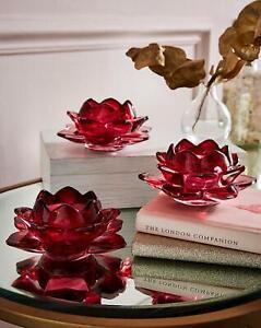 Set of 3 Flower Burst Tealight Holder Red Glass Candle Home Decoration Design