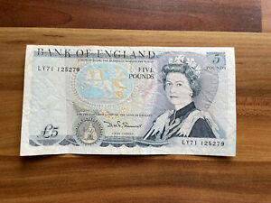 Bank Of England Old Five Pound  Bank Note £5 Page Duke Of Wellington LY71 125279