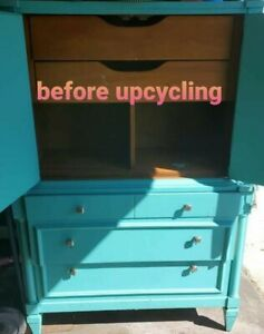 Upcycled reclaimed Armoire teal blue 2 doors 3 drawers fun funky and chunky!!