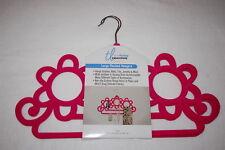 "Pink Flocked Scarf Hangers Set of 2 Jewelery Belts Ties 12x18"" Swivel Hanger"