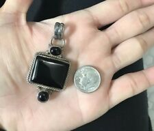 925 Sterling Silver Square Cut Black Onyx Pendant