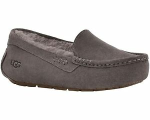 Women's Shoes UGG ANSLEY Suede Moccasin Slippers 1106878 THUNDER CLOUD