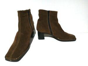 "RIEKER  Suede Brown Ankle Boots UK 5 EU 38 WORN ONCE 2"" Heel Side zip Wool lined"