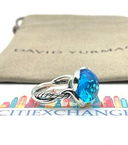 David Yurman Sterling Silver 92514mm Continuance Ring With Blue Topaz Sz 7.5