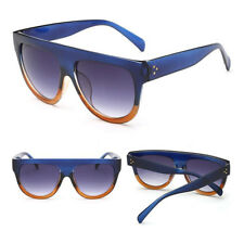 Oversized Flat Top Shadow Shield DESIGNER Celebrity Men Ladies Women Sunglasses Blue Brown