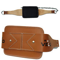 VELO Dipping Pull Up Weight Belt With Chain Gym Fitness Back Support Leather