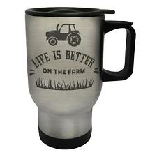 Life Is Better On The Farm With Tractor White/Steel Travel 14oz Mug n187t
