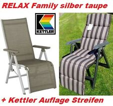 KETTLER LIEGESESSEL RELAXSESSEL RELAXLIEGE FAMILY SILBER TAUPE+AUFLAGE FREI HAUS