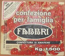 ETICHETTA CONFETTURA DI AMARENE FABBRI ALIMENTI CILIEGIE CHERRY CHERRIES ANNI 70
