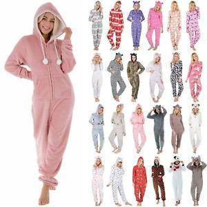 New Ladies Fleece All In One Piece Pyjamas Jump Sleep Suit PJs Nightwear