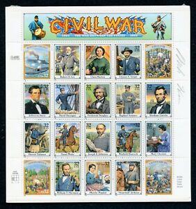 US Scott 2975 Civil War Mint NH  Sheet of 20 signed by designer Mark Hess