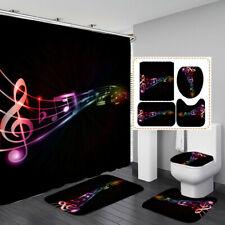 Color Musical Notes Shower Curtain Bath Mat Toilet Cover Rug Bathroom Decor