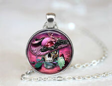 Sugar Skull Necklace photo Tibet silver Cabochon glass pendant chain Necklace