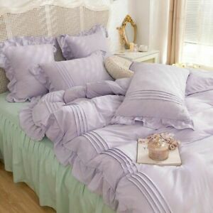 Korean Purple Bedding Set Bedspread For Home Twin Full Queen Size Soft Bed Skirt