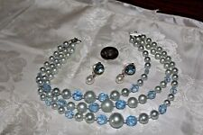 VTG BLUE GLASS&FAUX PEARL 3 STRAND NECKLACE WITH DANGLE POST EARRINGS GORGEOUS!