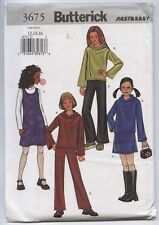 Butterick 3675 Sewing Pattern Girls' Knit Jumper Top Skirt Pants Sz 12 14 16 UC