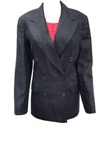 Vintage Talbots 8 Black Irish Linen Long Sleeve Double Breasted Blazer Jacket