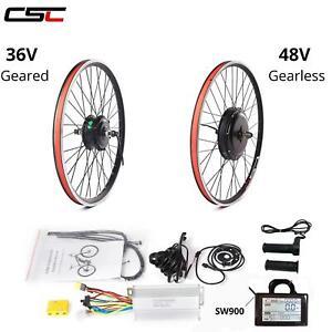 "ebike 36V 500W 26"" Geared 48V Gearless Front Rear e-Bike Conversion Kit"