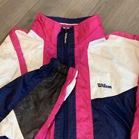 Wilson Windbreaker Jacket Womens Large Adult White Pink Vintage 90s Athletic USA