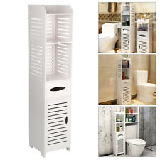 Modern Wood Bathroom Cabinet Shelf Cupboard Storage Toilet Unit Free Standing UK