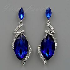 Rhodium Plated Blue Crystal Rhinestone Chandelier Drop Dangle Earrings 0480 Prom