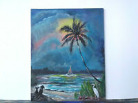 Original Acrylic Painting 8 x 10 Canvas Panel, Cat & Dog on Beach Art