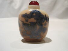 CHINESE SNUFF BOTTLE, AGATE, DRAGON AND PHOENIX WITH RED MARK UNDERNEATH