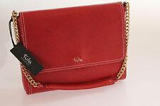 Tula Saffiano Originals Red Leather Shoulder Chain Strap Bag