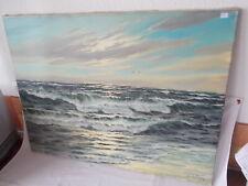Öl Gemälde auf Leinen Künstler Lützer ? Meer Wellen Np1040 Konvolut Nr.47